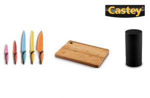 Conjunto Castey de 5 Cuchillos de Cocina con Tacoma y Tabla de Cortar