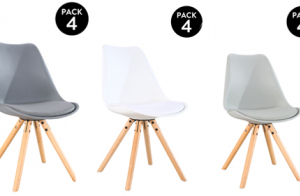Pack 4 sillas Scandinavia en blanco, gris o gris oscuro