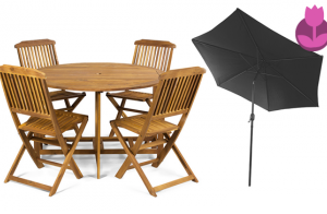 Conjunto mesa y sillas para jardín plegables
